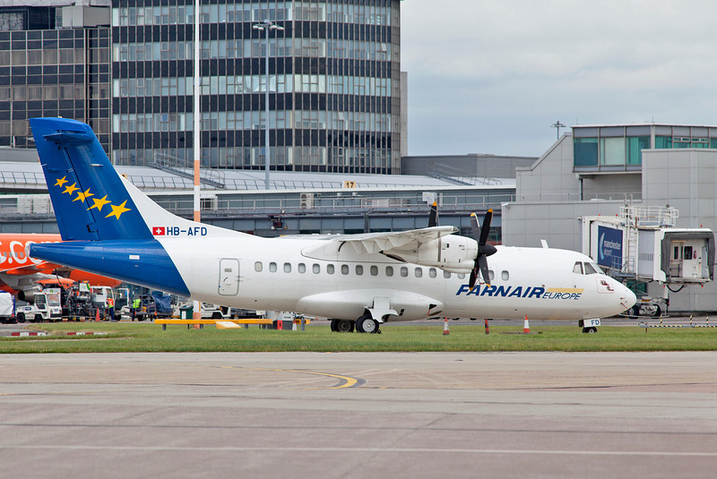 HB-AFD Farnair ATR parked on stand 100.