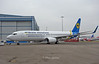 UR-PSE just out of the paint shop in full Ukraine International scheme.