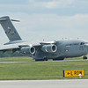 USAF C-17 reversing on the active runway at McGuire AFB