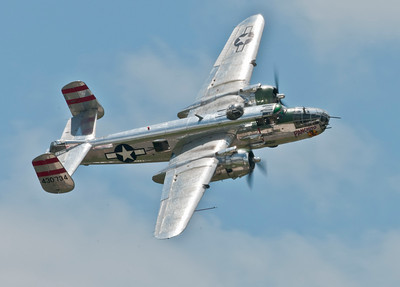 B-25J Mitchell bomber from WW2 banking