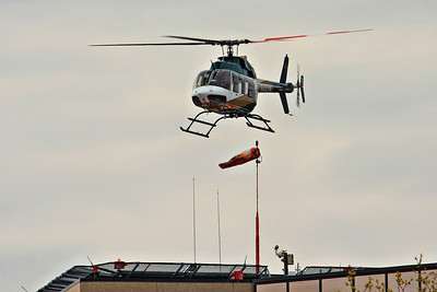 Mercy Air Med launching from the University of Iowa hospital helipad.