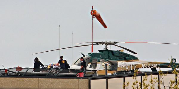 Mercy Air Med from Mason City, Iowa is on the helipad at the University of Iowa hospital in Iowa City.