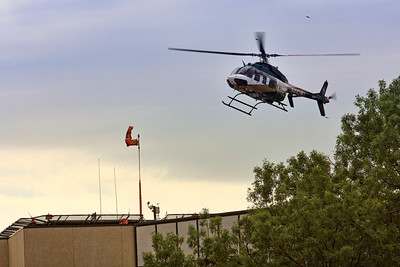 Mercy Air Med landing on the rooftop helipad at the UIHC in Iowa City, Iowa