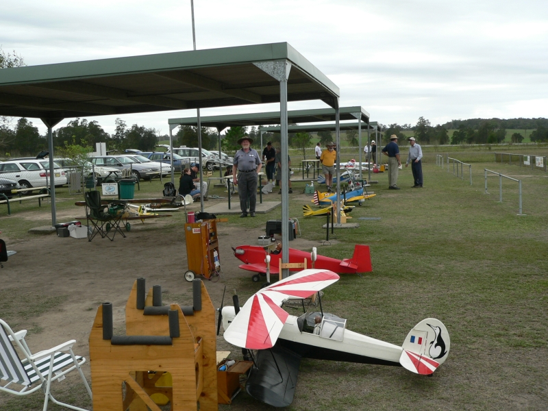 A view of the pits at Metford (in the Hunter Valley, west of Newcastle & near Maitland). The flying field is in an old race track and the club's facilities are excellent.