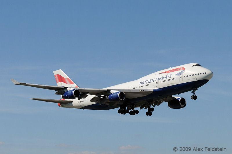 British B747 landing at MIA