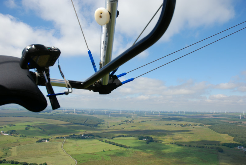 Flying towards the wind farm at Whitelees