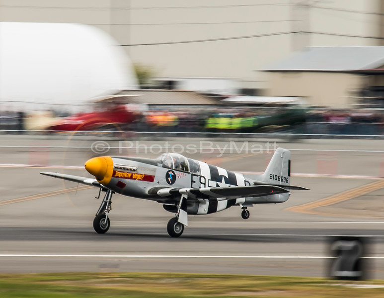 Historic Flight Foundation's P-51 Mustang departing for its demo at Paine Field 05-16-2015
