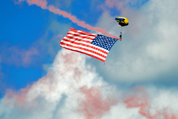 Military Parachute Teams - US Navy Leap Frogs - Chicago Air & Water Show - Chicago, Illinois - Photo Taken: August 21, 2016