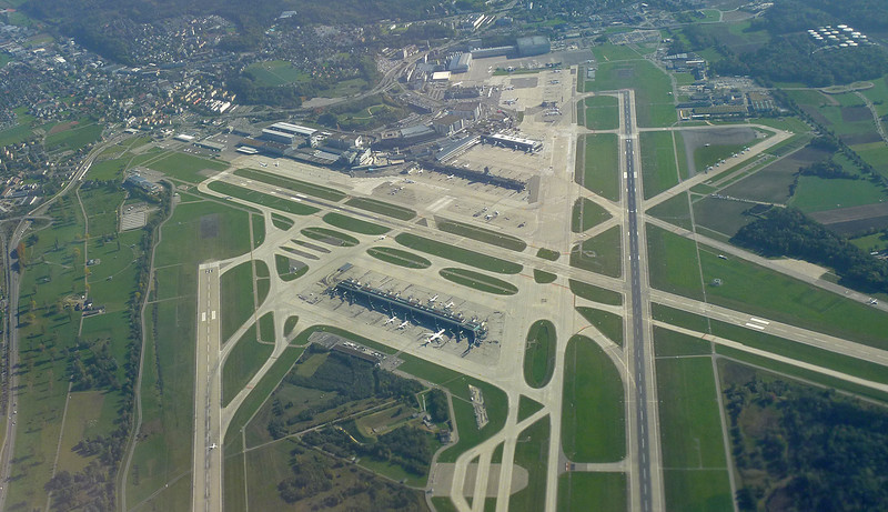 Zurich Airport from 5000 feet. Clearly shows the runway layout.
