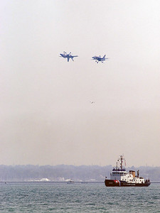 The U.S. Navy's Blue Angels sharpen their skills over Milwaukee's Lakefront Friday afternoon in preparation for this weekends Milwaukee Air Expo