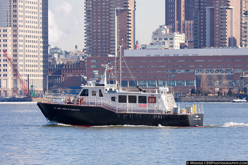 US Army Corp of Engineers vessel, part of the search for the engine which came off in the landing.