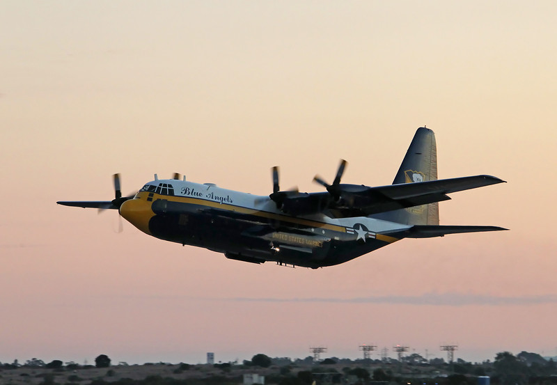 """USA 2011 - MCAS Miramar Air Show - Twilight Show - US Navy Blue Angels """"Fat Albert""""<br /> In support of US Army Golden Knights Parachute Team"""