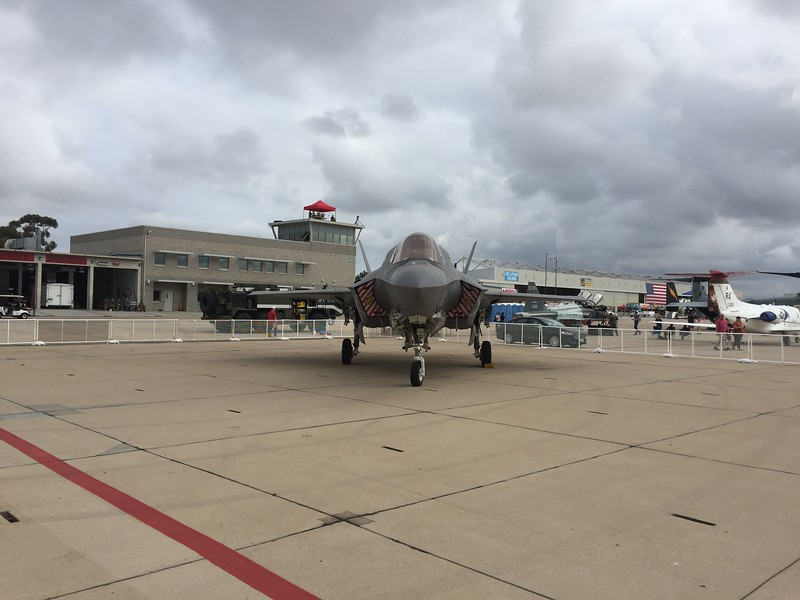 The F-35B was kept behind a security fence.