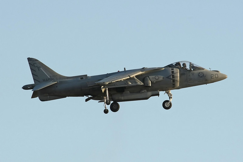 USA 2009 - MCAS Miramar Air Show - Twilight Show - AV-8B Harrier Vertical Take-Off & Landing (VTOL) demonstration