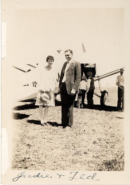 Jewel (Judie) and Ted Hill on July 4, 1928. This was his first ever airplane ride in a Ryan Brougham B-1.