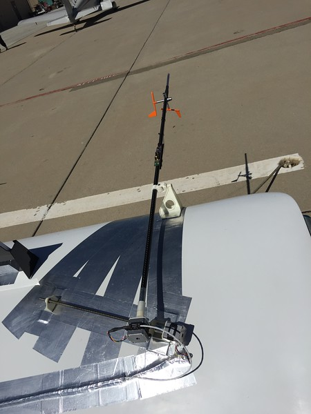A pitot/AOA probe attached on the wing of the KR-2.