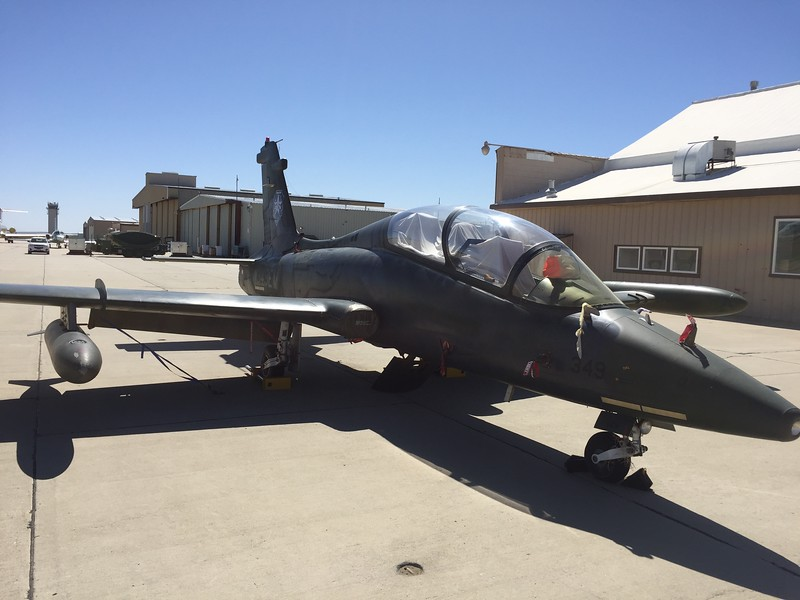 Another interesting jet on the ramp. Aero Vodochody L-159E Honey Badger.