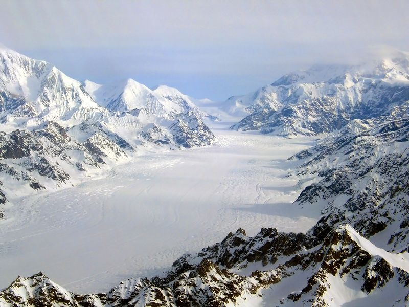 Kahiltna Glacier, Mt.Foraker(L), Mt.McKinley(R), glacier valley width approximatley 2 1/2 miles.