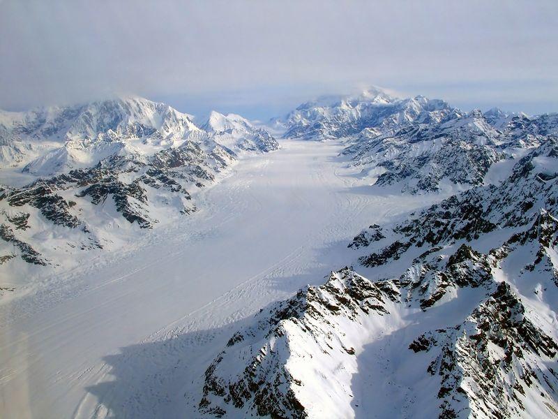 Kahiltna Glacier, Mt. Foraker (L), Mt. McKinley (R)