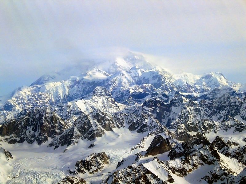 Mt. McKinley Summit,  20,320 feet, as viewed from 9,000 feet