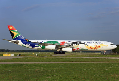 "ZS-SXD Airbus A340-313X (MSN 643) South African Airways in special Olympic colours 2012, named ""Siyanqoba"" . Munich, August 25th, 2017."