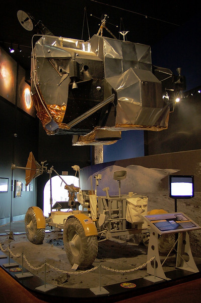 Full scale models of the Apollo Program's Lunar Rover and Lunar Excursion Module