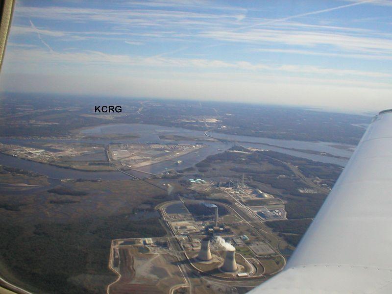 Approach Rwy 23 @ KCRG over Nuclear Power Plant.