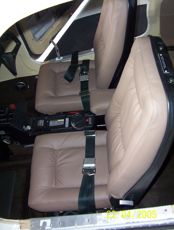 The new seats.  I had a auto bodtshop do the seats.  The leather was auto leather treated to meet FAR standards.