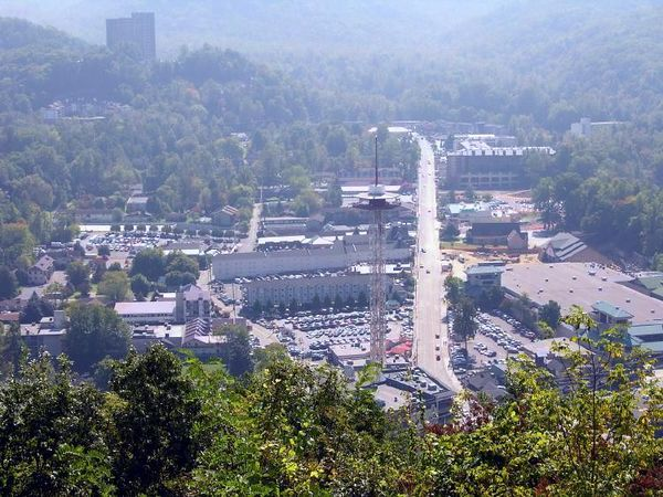 """Gatlingburg as seen from the """"Sky Lift"""".  Note the Space Needle."""
