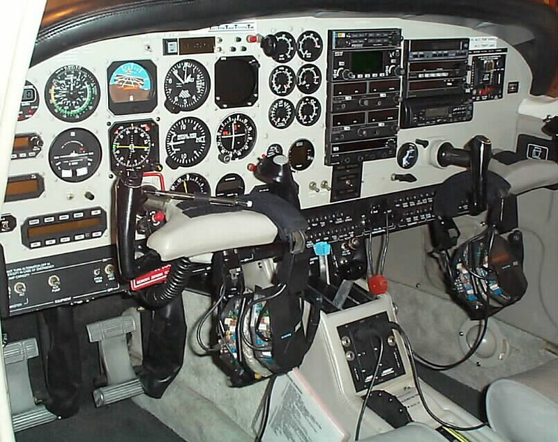 The panel has changed slightly since this photo was taken in 2002, namely with the change of the GPS to the IFR approach-certified KLN-90B with annunciator and GPSS device.