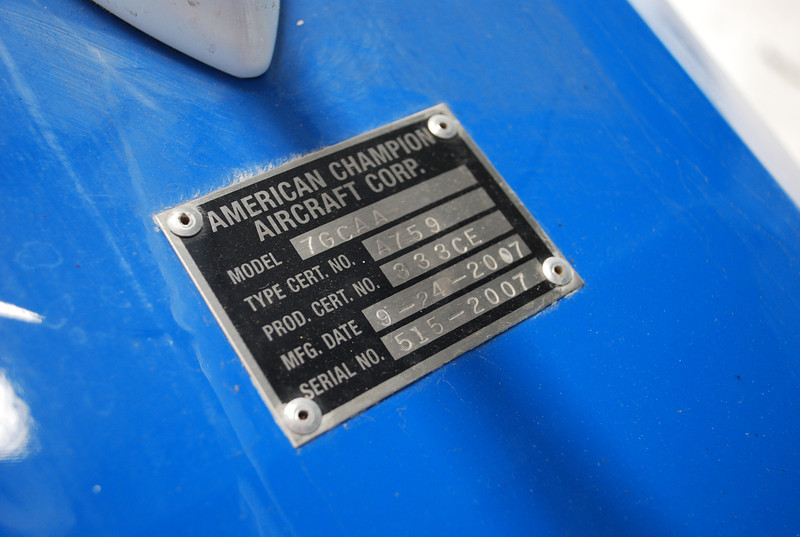 Date of Manufacture 9/2007.  Serial Number 515-2007