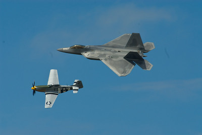 Heritage Flight with P-51 Mustang and the F-22