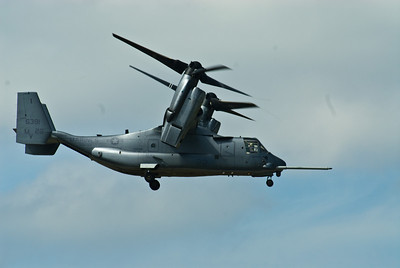 V-22 Osprey transitioning to straight flight from vertical flight