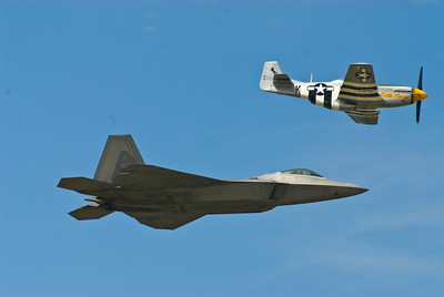 Heritage Flight with P-51 Mustang and the F-22 Raptor
