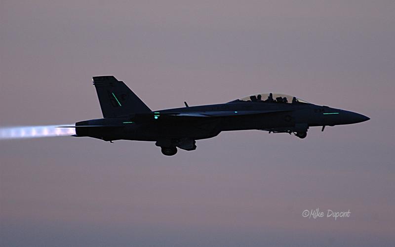 F-18 Super Hornet dusk take off.
