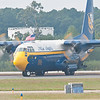 C-130 FAT ALBERT back taxiing on the active runway
