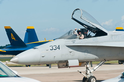 "F/A 18 ""C"" Hornet #334 taxiing back to the ramp"