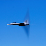 Fighter jet breaking the sound barier :