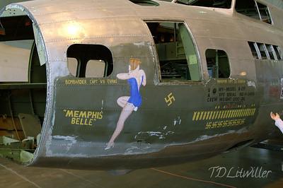 B-17F Memphis Belle.  The real one.  Inside restoration hangar.