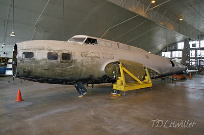 B-17 The Swoose Fuselage in restoration hangar.