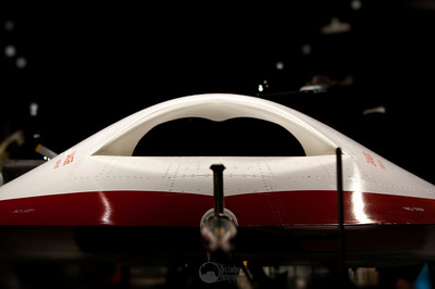 The nose of a Boeing X-45A unmanned combat air vehicle prototype.