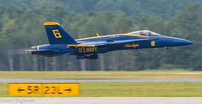 US Navy Blue Angel #6 Lt Cmdr Hempler rotates off of Runway 5R-23L