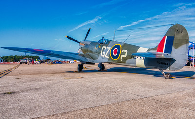 WW2 Spitfire on the ramp.  This particular Spitfire MJ730 is owned by the Military Aviation Museum in Pungo, VA
