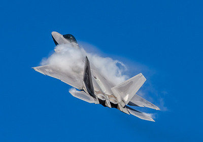 F-22 Raptor from Langley AFB in a high alpha maneuver