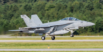 """F/A-18 SuperHornet from VFA-103 """"Jolly Rogers"""" rotates off of Runway 5 -23 at Oceana."""