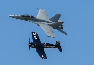 Heritage Pass with the F/A-18 SuperHornet and Jim Tobul's F4U-Corsair