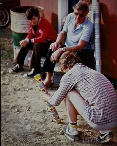 John Kirschke supervises novice bun-gunner John Wood at Dunphy, NB about 1981. John Kirschke flew combat missions off aircraft carriers during World War Two as an Grumman F6F Hellcat pilot.