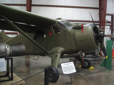 DeHavilland U-6A Beaver. A versatile, Canadian-built airplane from the 1950s. This plane could be used as an ambulance, surveyor, liason, and transport. It's powered by a Pratt & Whitney R-985 Wasp Jr. engine.