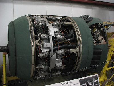 BMW 801-ML. 14-cylinders and 1600hp - this was the first high-performance radial engine built in Germany during WW II. It was used on the German Dornier 217 bomber, JU-88, and Focke-Wulff 190 fighter.