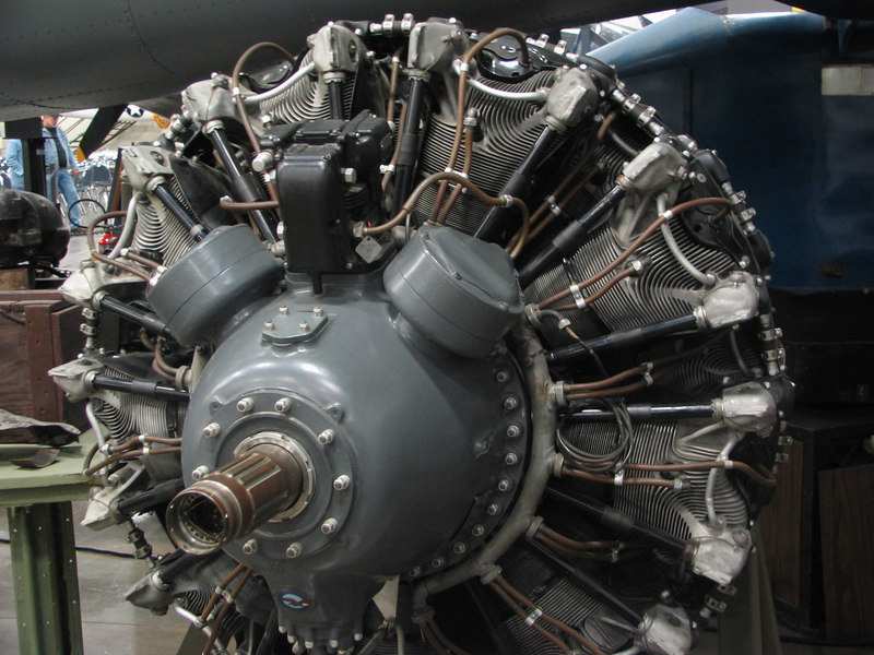 Pratt & Whitney Double Wasp R-2800-39 engine. This engine is two rows of nine cylinders totalling 2804 cu in. It produces 1850hp.